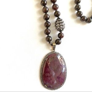 Jewelry - Sapphire Diamond & Garnet Statement Necklace